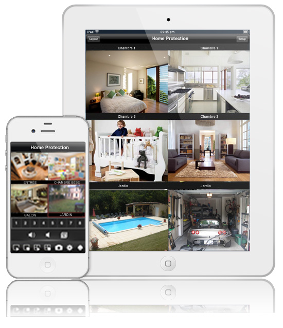 cam ras compatibles smartphones et tablettes home protection. Black Bedroom Furniture Sets. Home Design Ideas
