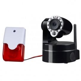 Mini-Alarme - Sirène et Flash auto alimenté compatible avec la Caméra IP motorisée WiFi 330