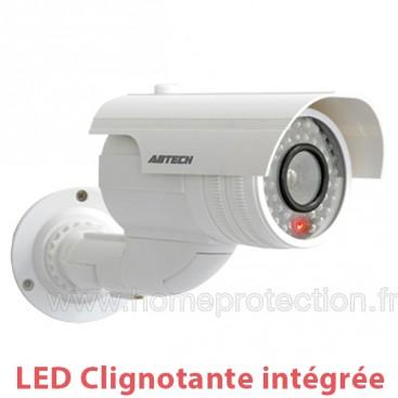 Caméra factice blanche extérieur/intérieur avec LED rouge clignotante