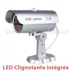 Caméra factice effet métal extérieur/intérieur avec LED rouge clignotante