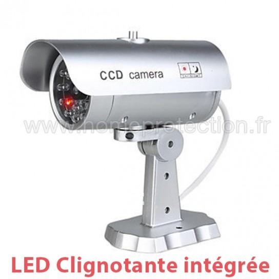 Caméra Factice Effet Métal Extérieur Intérieur Avec Led Rouge Clignotante