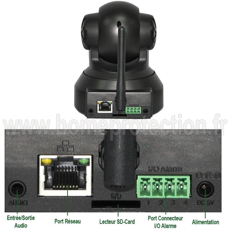 cam ra ip motoris e wifi hd 720p rotation 270 degr s avec vision nocturne d tection de. Black Bedroom Furniture Sets. Home Design Ideas