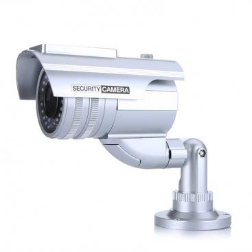 Caméra factice argentée extérieur/intérieur avec LED rouge clignotante et panneau solaire