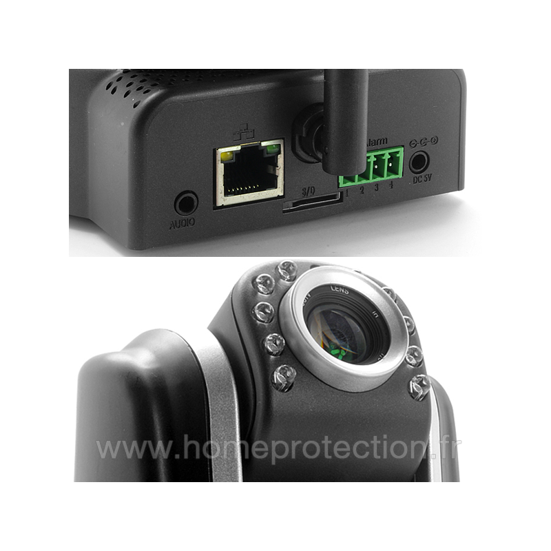 Cam ra ip motoris e wifi hd 720p rotation 330 degr s avec vision nocturne lecteur sd card - Camera wifi interieur ...