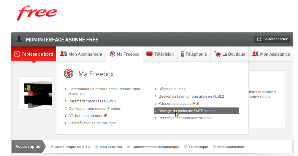 Blocage SMTP Freebox