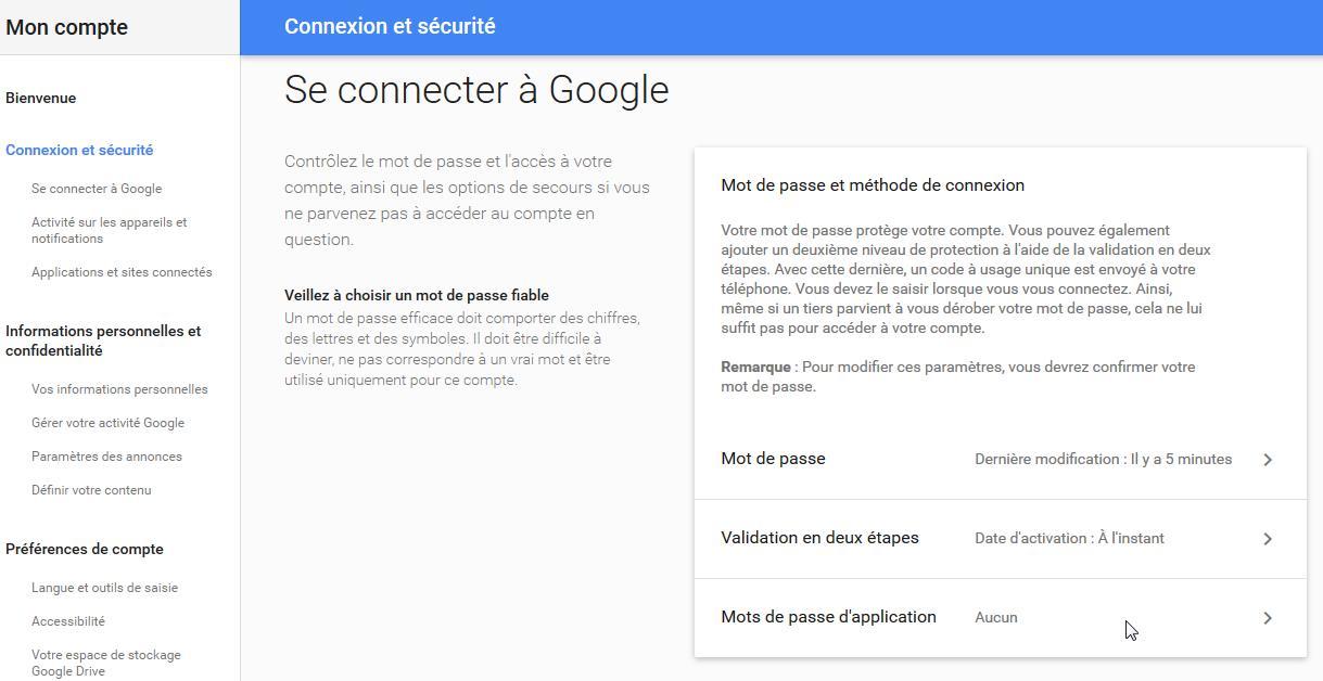 création d'un compte gmail pour votre caméra IP